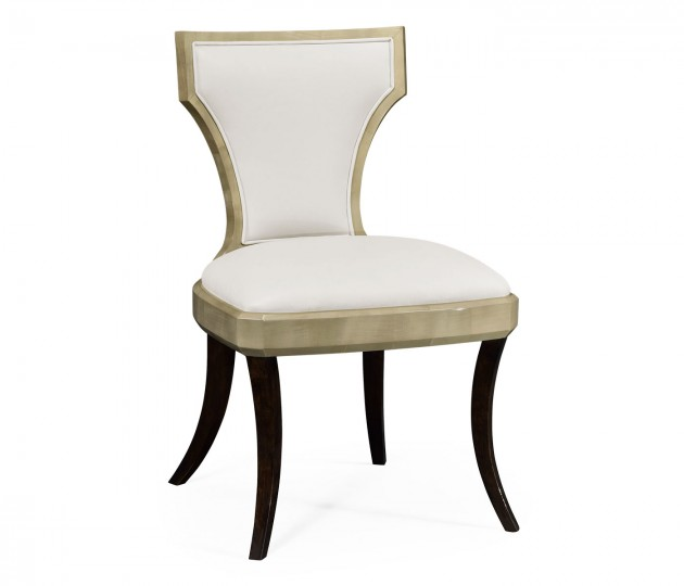 Art Deco Champagne Side Chair, Upholstered in Cream Leather