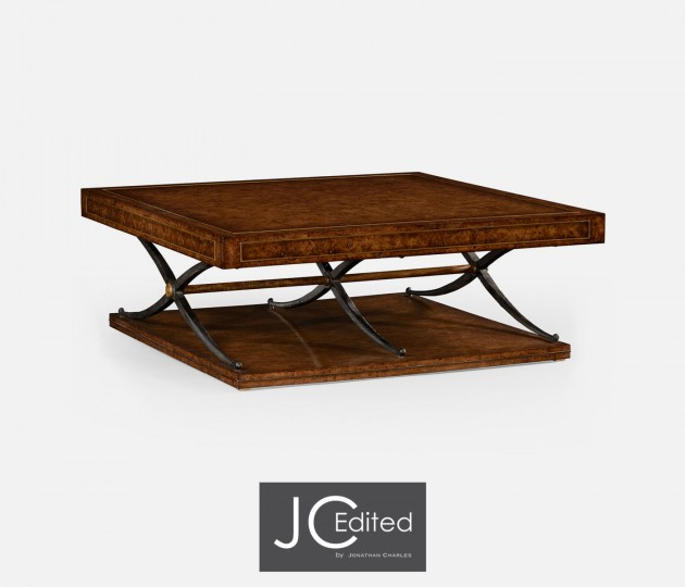 Hammered Iron and Burl Square Coffee Table