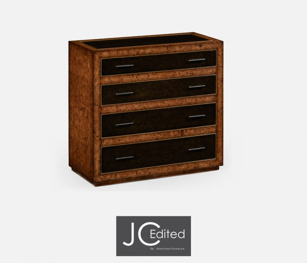Rustic Burl Oak and Leather Chest of Four Drawers