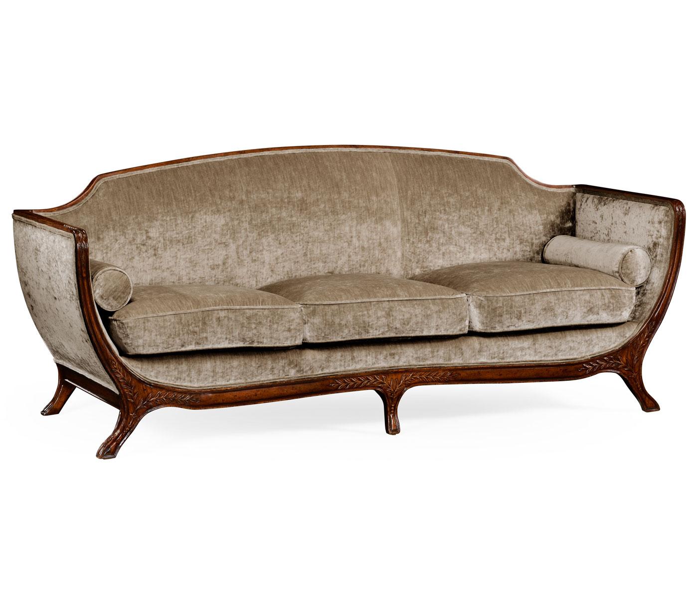 Empire Style Sofa (Walnut/Velvet Calico)