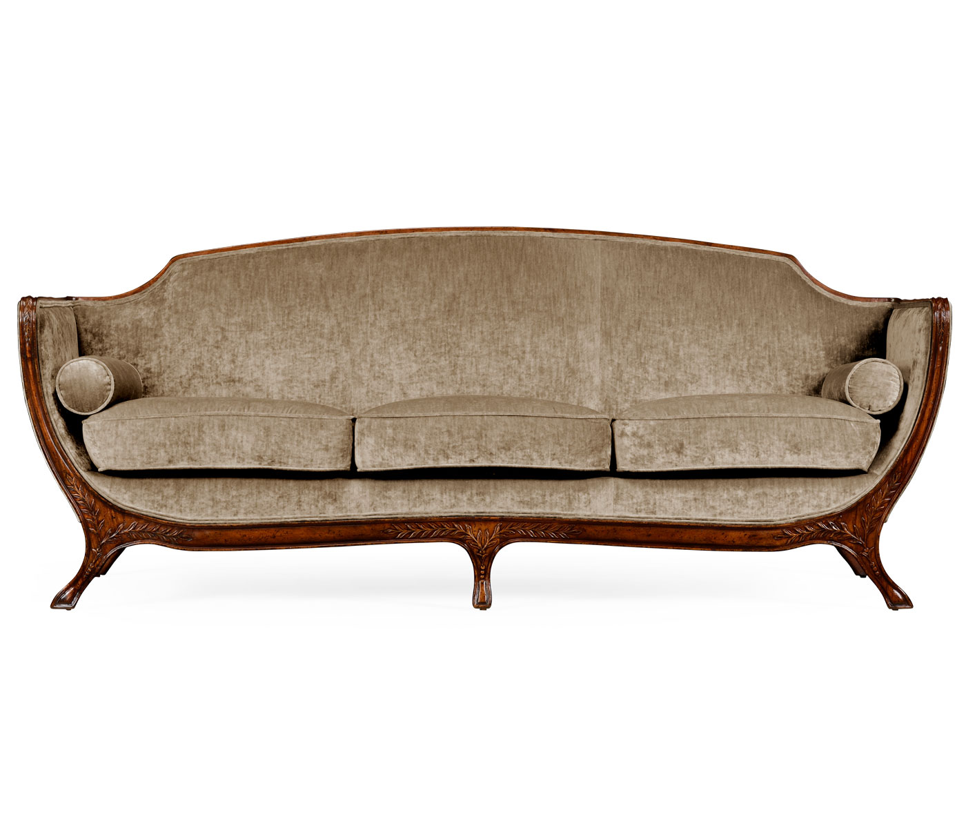 Empire Style Sofa Walnut Velvet Calico