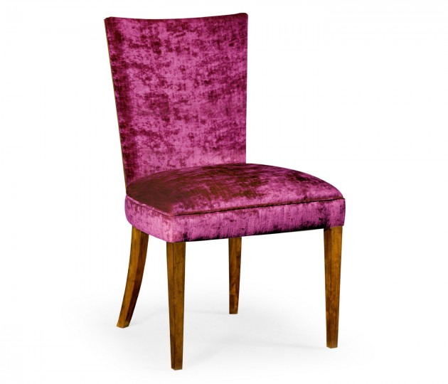Biedermeier Style Walnut Dining Side Chair (Fuchsia)