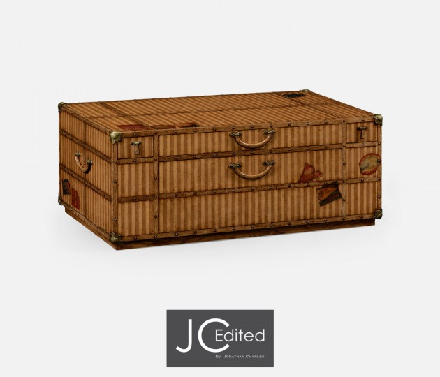 Travel Trunk Style Coffee Table with Storage