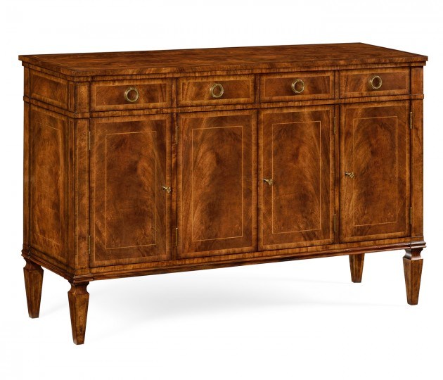 Regency Style Crotch Walnut Sideboard with Four Doors