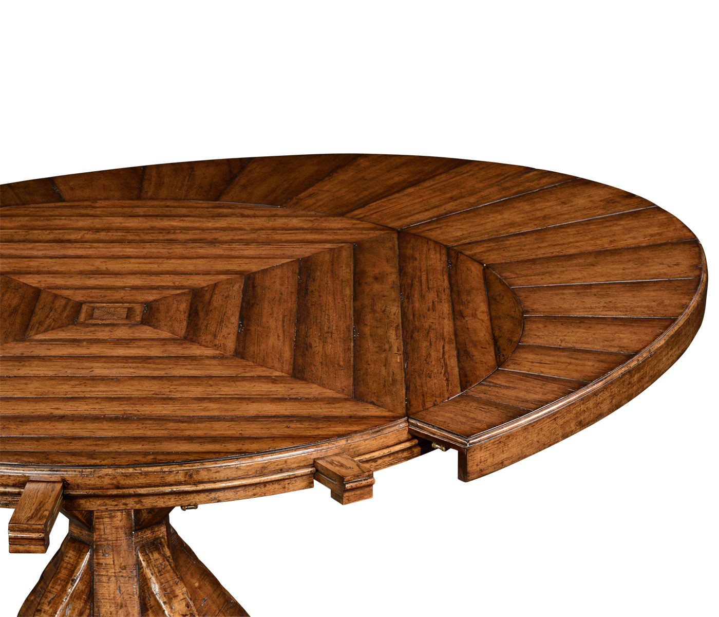 53quot Heavy Distressed Parquet Round To Oval Dining Table : 494849 6 1400x1200 from www.jonathancharlesfurniture.com size 1400 x 1200 jpeg 276kB