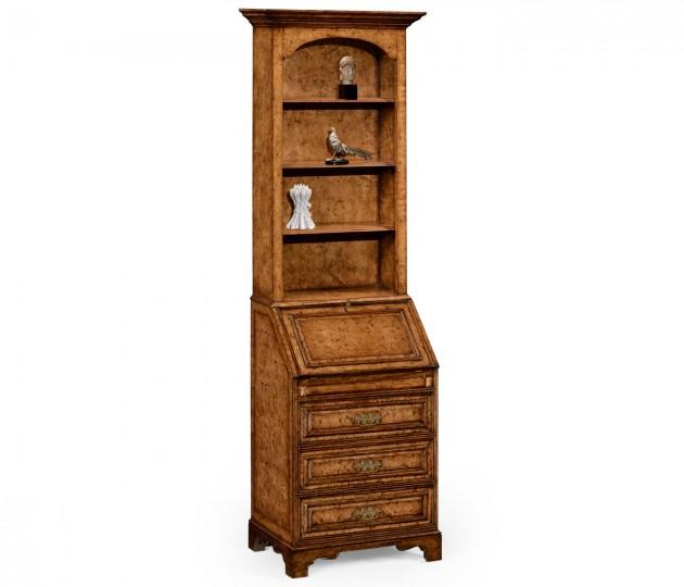 Burl Oak Slender Bookcase Bureau