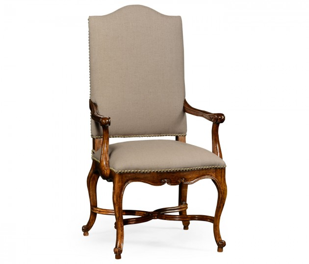 French Baronial Style Country Armchair, Upholstered in MAZO