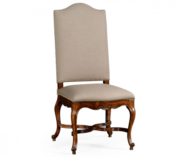 French Baronial Style Country Side Chair, Upholstered in MAZO