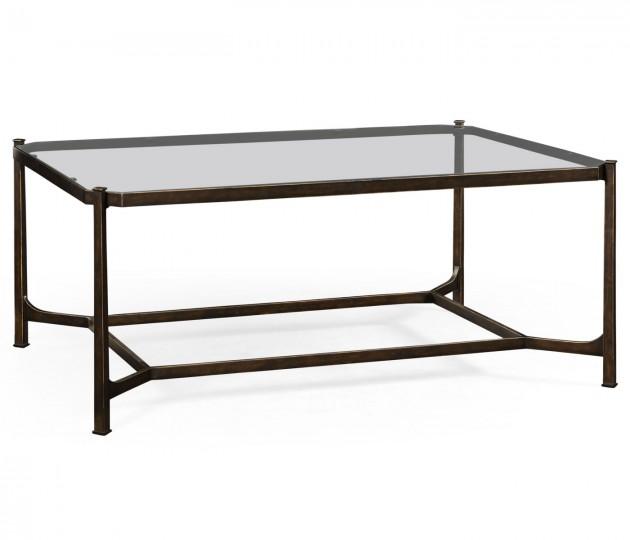 Distressed Bronze Rectangular Coffee Table