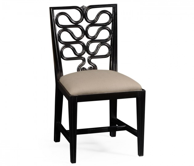 Black Painted Serpentine Open Back Dining Side Chair