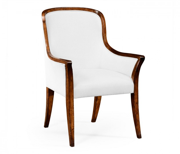 Low Curved Back Upholstered Dining Armchair - COM