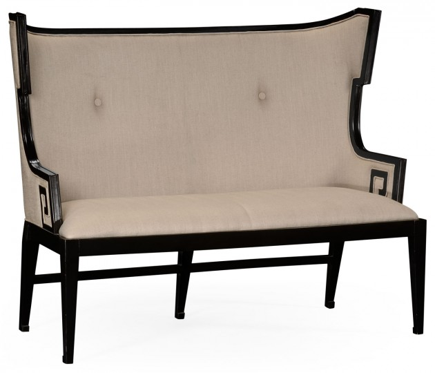Greek Key Design Black Biedermeier Settee, Upholstered in MAZO