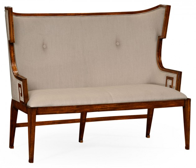 Greek Key Design Walnut Biedermeier Settee, Upholstered in MAZO
