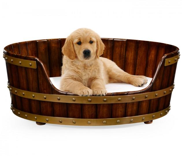 Medium Walnut Wooden Dog Bed