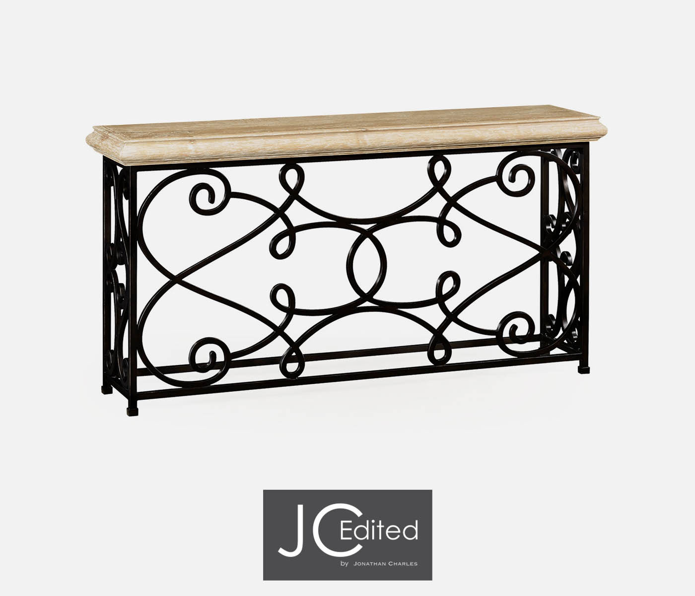 72 Width Rectangular Limed Wood Console With Wrought Iron