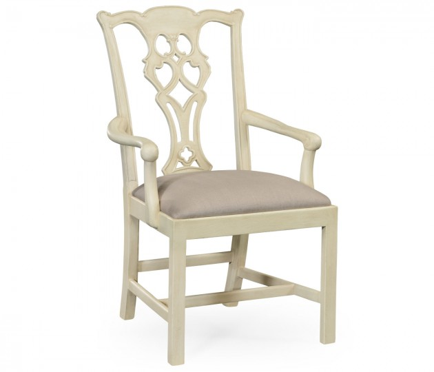 Linen Painted Chippendale Style Classic Walnut Armchair