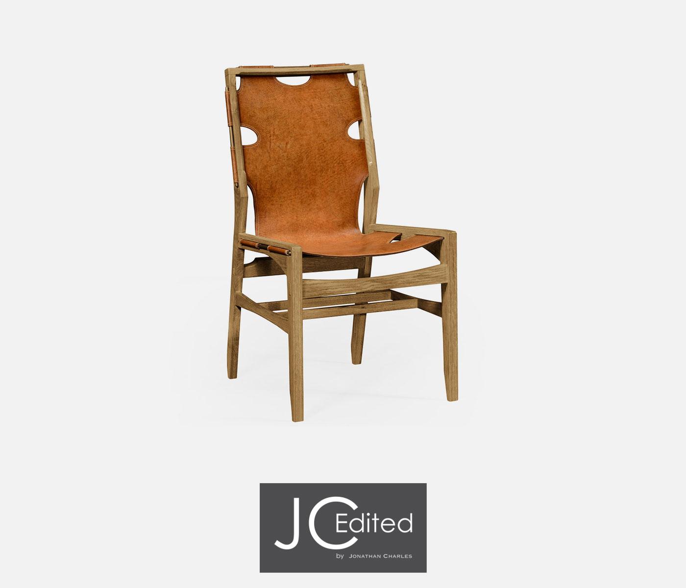 Midcentury Style Slung Medium Antique Chestnut Leather U0026 Light Oak Side  Chair