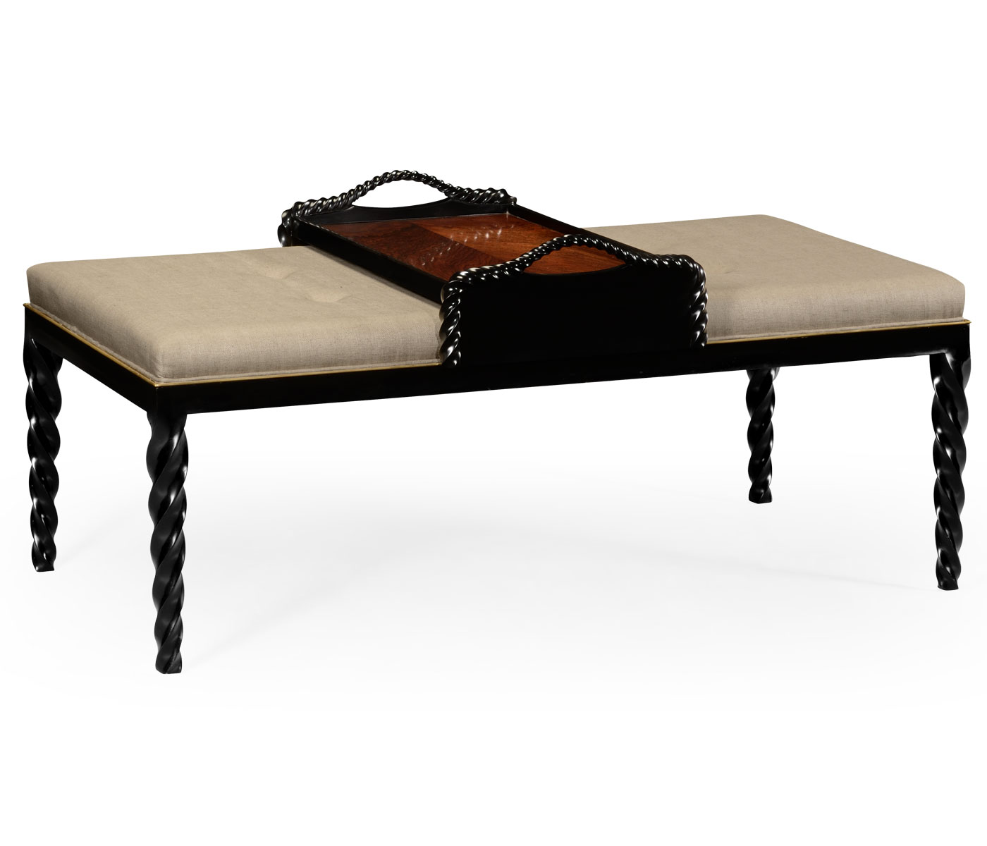 Cocktail Ottoman For Tray Table And Black Barleytwist Legs, Upholstered In  MAZO