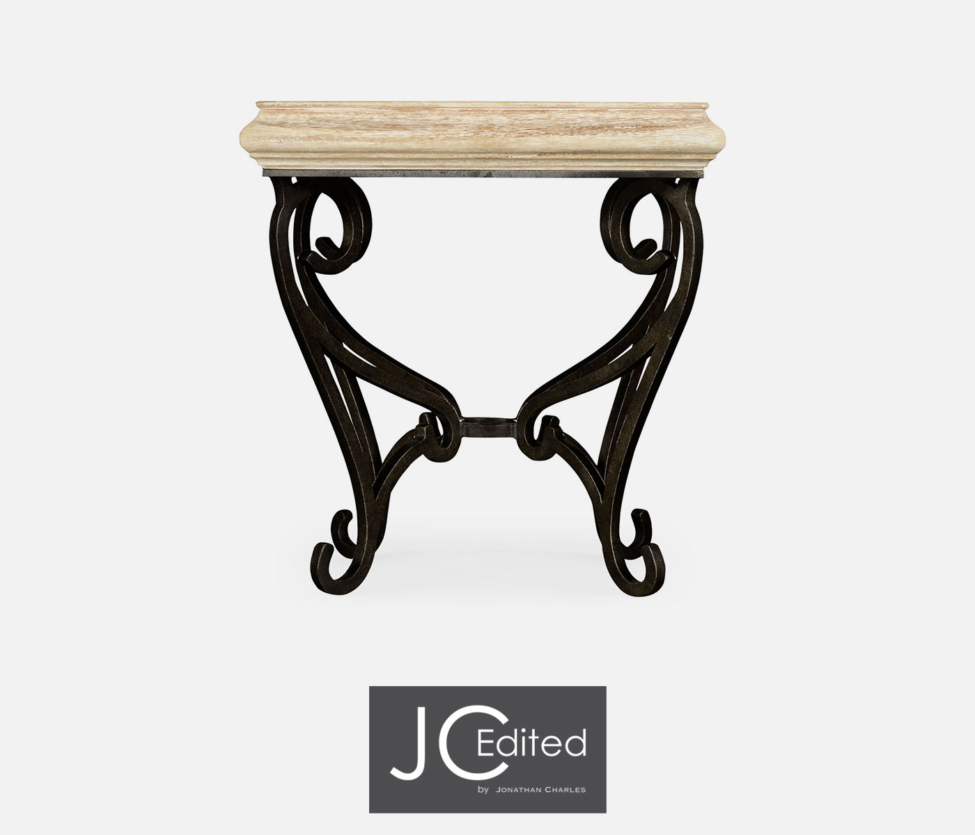Limed wood square side table for wrought iron base for Wrought iron side table base