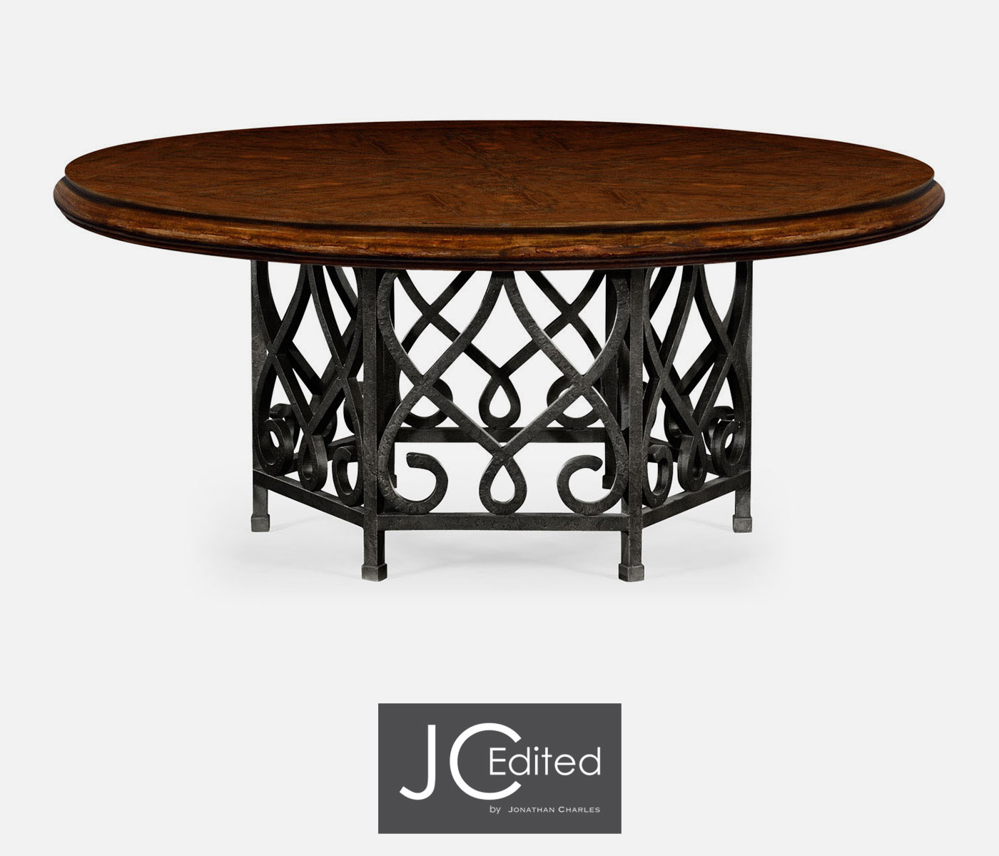 72 rustic walnut dining table for wrought iron base for Wrought iron dining table