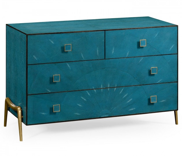 Teal Faux Shagreen and Brass Legged Chest of Drawers