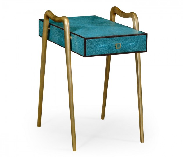 Teal Faux Shagreen and Brass Legged End Table