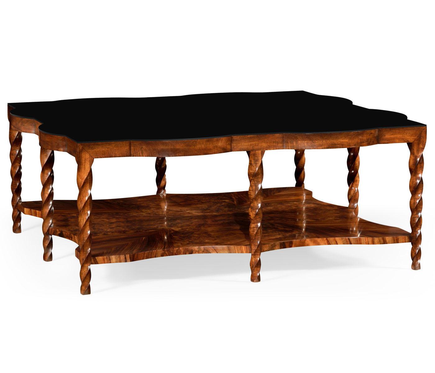 Charles Modern 47 Square Glass Top Coffee Table W: Walnut Barleytwist Square Coffee Table