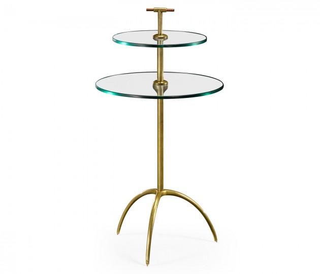 Brass & Glass Round Drinks Table