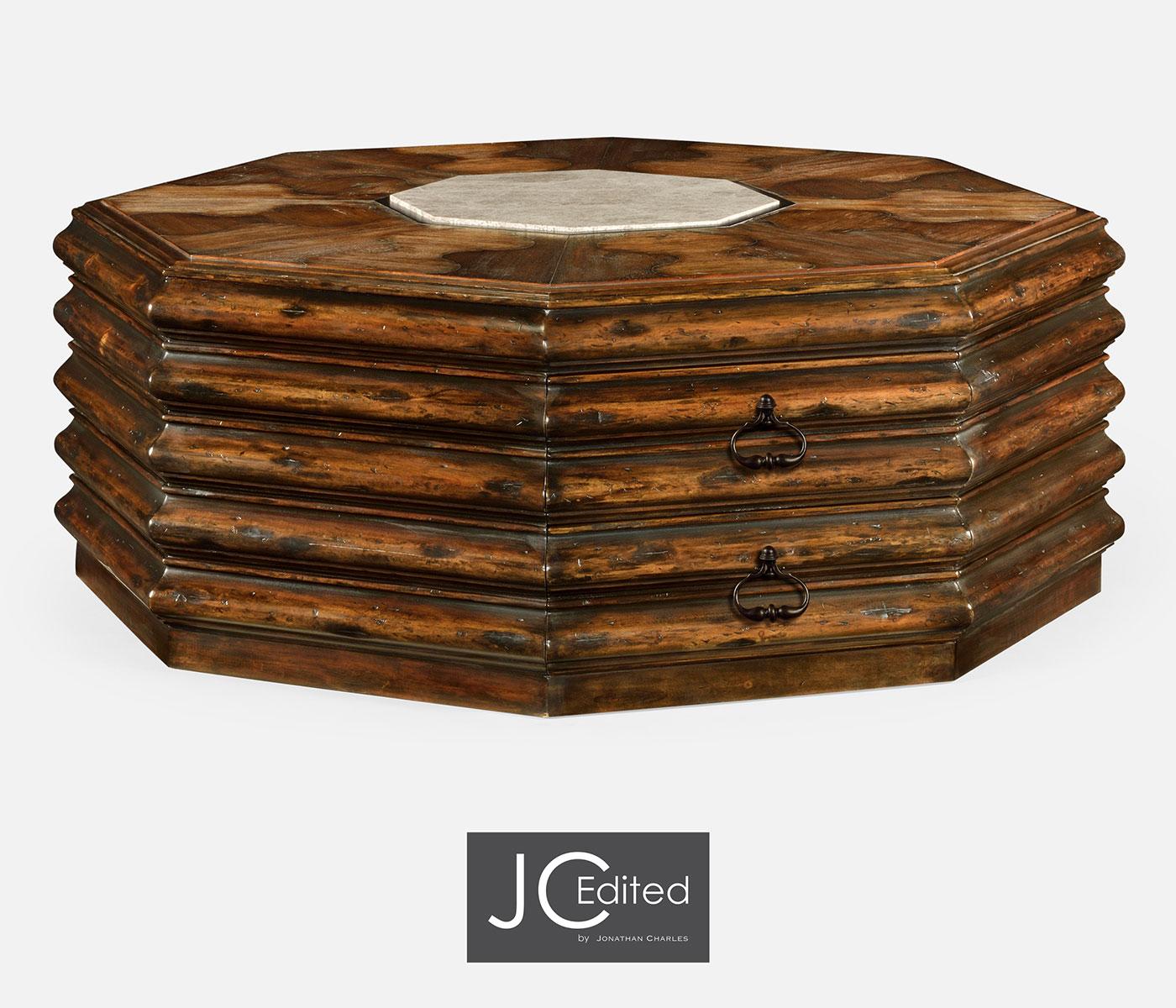 Octagon Rustic Walnut Coffee Table