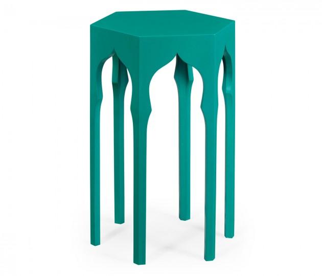 Hexagon Lamp Table (Aruba Blue)