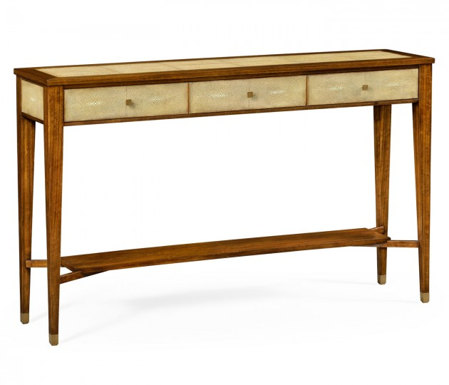 Ivory Faux Shagreen Console