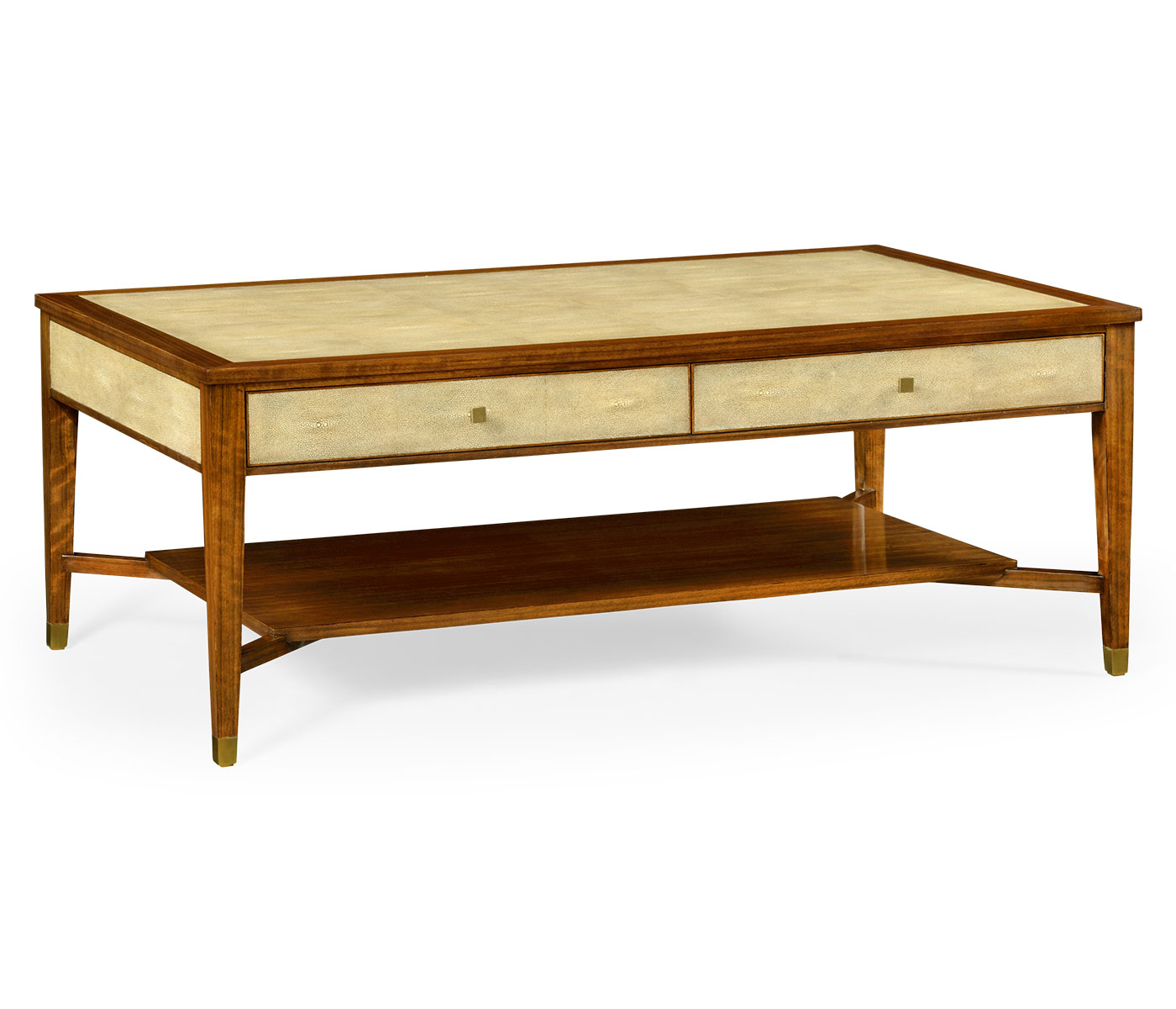Ivory Shagreen Coffee Table With Drawers
