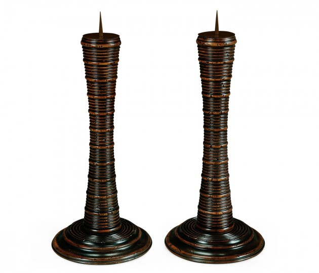 Pair of Finely Carved Candlesticks