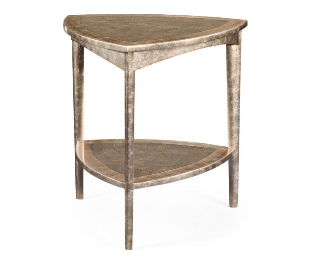 Silver Espresso Triangular Side Table