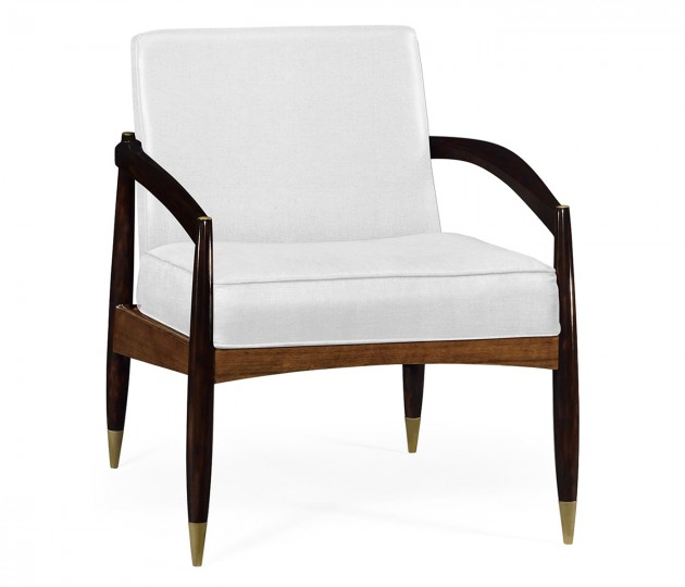 Contemporary Hyedua & Ebonised Occasional Chair, Upholstered in COM