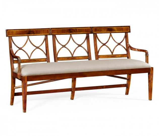 Three Seater Regency Walnut Bench, Upholstered in MAZO