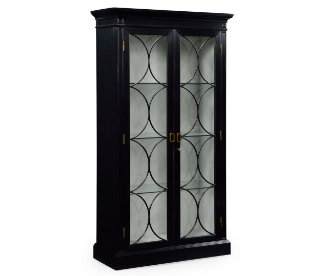 Formal Black Display Cabinet