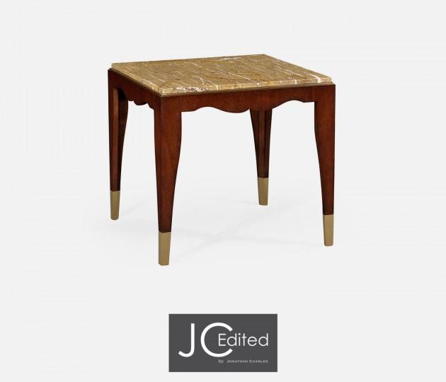 Mahogany Square Side Table with Bidasar Gold Marble Top