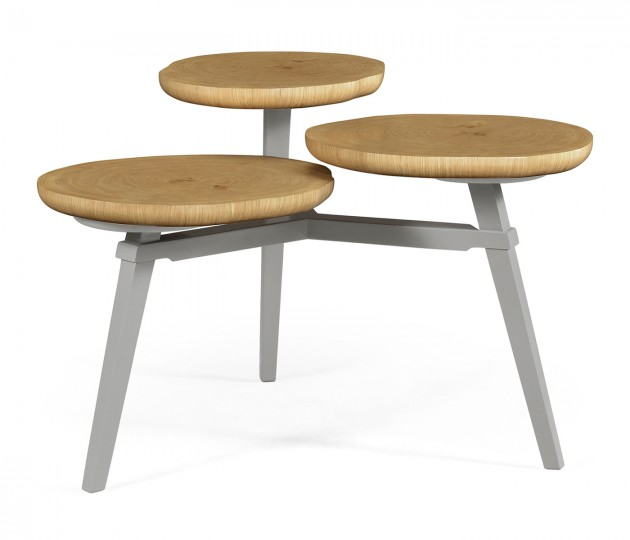Architectural Coffee Table with Three Multi–Layered Circular Oysters