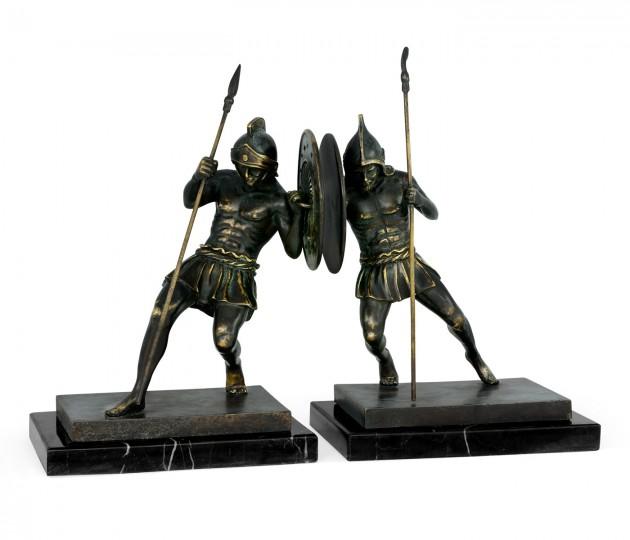 Pair of Dark Bronze Combatant Bookends