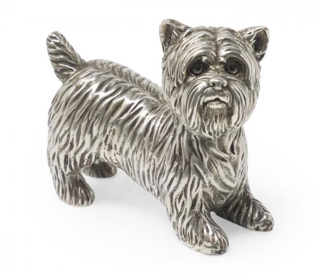 Antique White Brass Yorkshire Terrier Dog
