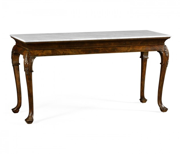 Brown Mahogany Buffet Table with Marble Top