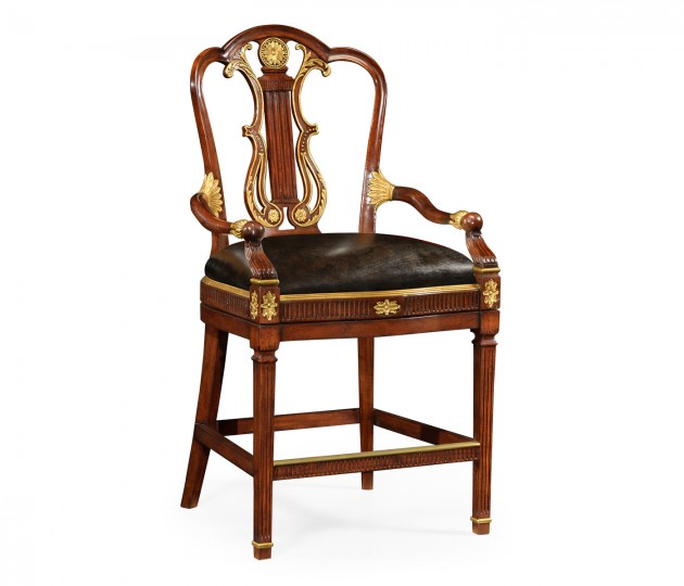 Neo-Classical Gilded Lyre Back Counter Armchair, Upholstered in Black Leather