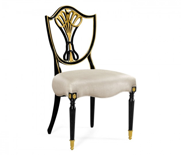 Sheraton Dining Side Chair with Shield Back in Painted Black & Gilded Details, Upholstered in MAZO