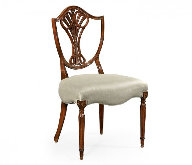 Sheraton Dining Side Chair with Shield Back in Antique Mahogany, Upholstered in MAZO
