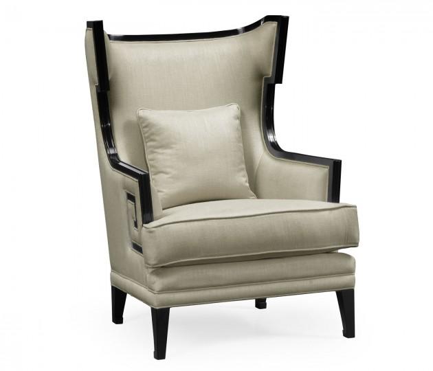 Biedermeier Greek Key Formal Black Occasional Chair, Upholstered in Mao