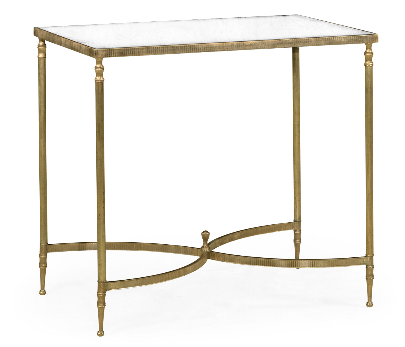 Rectangular Antique Brass End Table With Antique Mirror Top