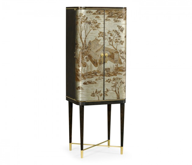 Chinoiserie Style Charcoal & Antique Etched Brass Drinks Cabinet