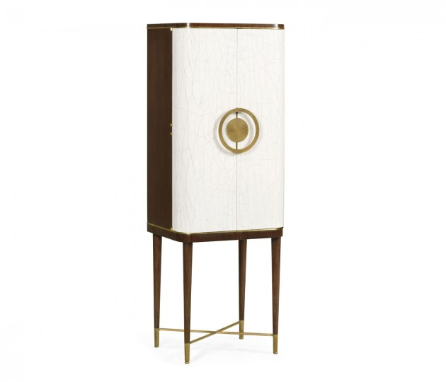 Walnut & Crackle Cloth Lacquered Drinks Cabinet