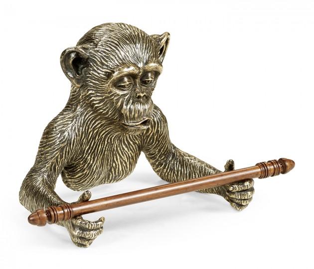 Antique Dark Bronze Monkey Tissue Paper Holder
